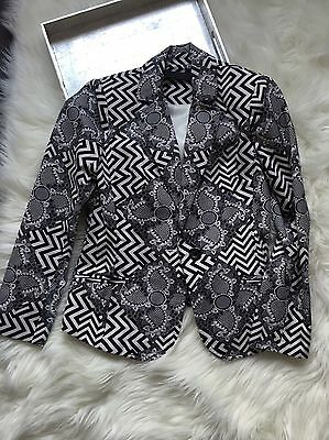 L.A.M.B. Black White Geometric Fitted Blazer SZ 0 Gwen Stefani
