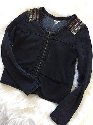 Ecote Embroidered Charcoal Distressed Jacket Sz Small Urban Outfitters