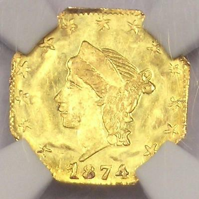 1874 1/7 Liberty 25C California Gold Quarter BG-776 R5 - NGC Uncirculated (MS)