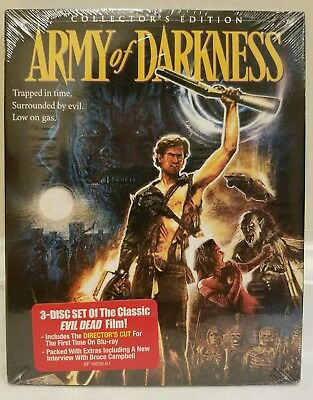 Army of Darkness (Blu-ray Disc, 2015, 3-Disc Collector's Ed.) RARE SLIP SEALED!!