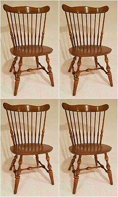 《FREE SHIPPING》Genuine Ethan Allen Nutmeg Set 4 Solid Maple Windsor Era Chairs