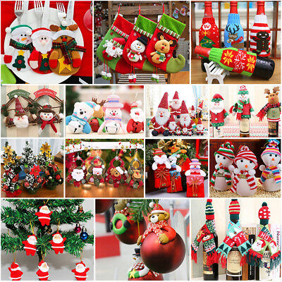 Christmas Hanging Ornaments Santa Wine Bottle Bags Cover Xmas Party Table Decor