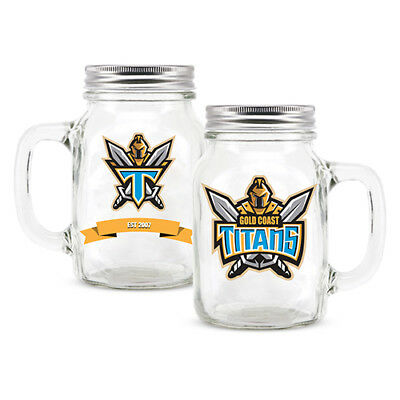 Gold Coast Titans NRL Glass Mason Jar With Handle Christmas Man Cave Gift