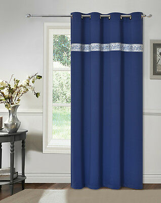 """SWEET DREAM Thermal Insulated Blackout Drape Panel Curtain 52x84"""" 1PC- BLUE"""