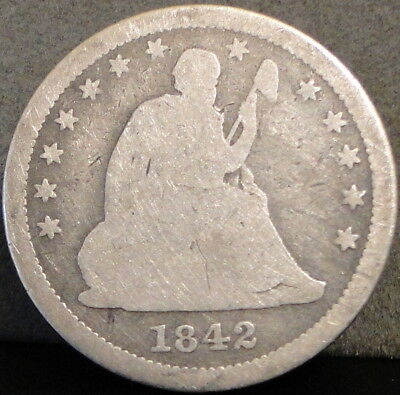 1842-O Seated Liberty Quarter - Large Date Variety