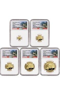 2016 China Gold Panda Coin Set NGC MS70