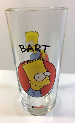 "~ Nutella - The Simpsons -  Glass ""Bart"" - In Mint Condition - Never Used ~"