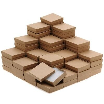 Kraft Brown Square Cardboard Jewelry Boxes 3.5 x 3.5 x 1 Inches (100)