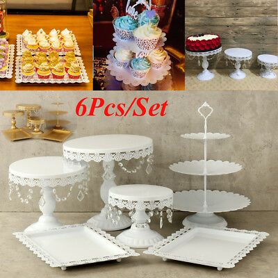 Set of 6 Pieces White Gold Crystal Cake Stand Cupcake Wedding Dessert Candy Bar