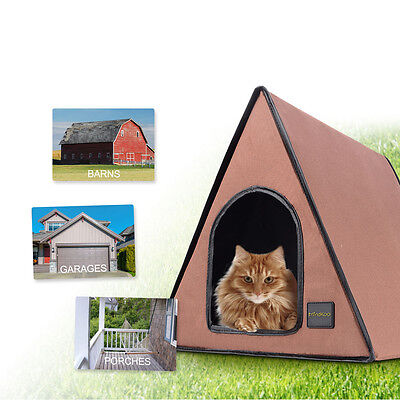 Heated Outdoor Cat Dog House Waterproof Shelter Kennel Puppy Pet Bed Condo【UK】