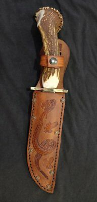 Bowie Hunting Knife Scrimshaw Red Stag Handle Custom Blade Art by Renwa
