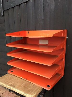 Vintage Orange 5 Tier Metal Filing Tray, Desk Or Wall Mounted