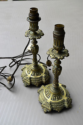 PAIR OF 2 ANTIQUE BRONZE FRENCH  CANDLESTICKS - LAMPS, 19th century