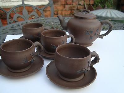 Clay Yixing Teapot Cups Saucers 4 Chinese Bonsai Tree Design Signed