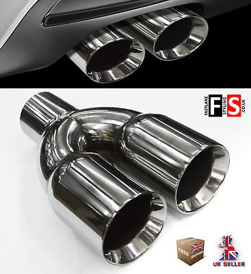 Universal Stainless Steel Exhaust Tailpipe Tips Twin Yfx-0128  Vxl2