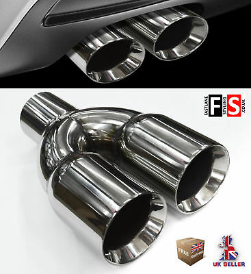 Universal Stainless Steel Exhaust Tailpipe Tips Twin Yfx-0128  Set
