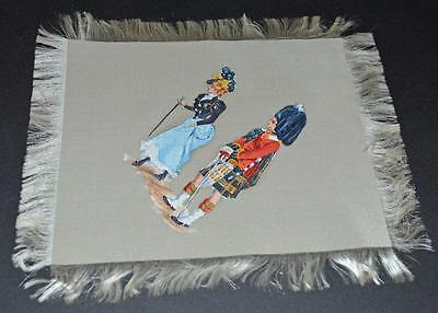 Vintage --  painting on Silk Handkerchief - Lady with Scots Guard Soldier.