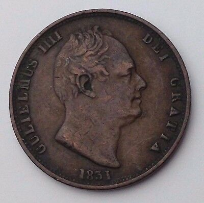 Dated 1831 - Copper Coin - Half Penny / 1/2d - King William IIII - Great Britain