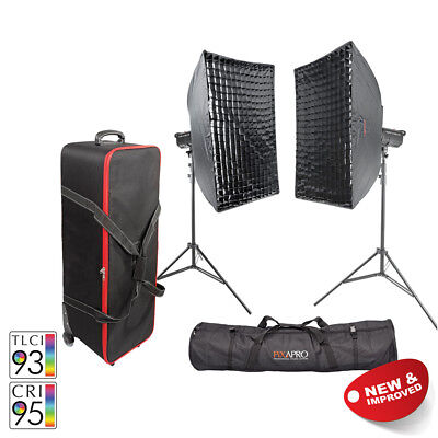 PIXAPRO® LED100D MKII Twin Softbox LED Kit Video Lights Interview Green Screen
