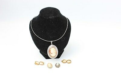 Vintage STERLING SILVER Mixed CAMEO Necklace, Pendant & Earring Collection - 35g