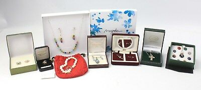 Collection of Mixed STERLING SILVER Boxed Jewellery & Sets inc. PEARL, Glass