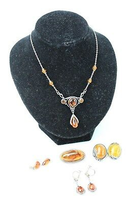 Collection of Mixed STERLING SILVER Amber Stone Jewellery Necklace, Brooch - 30g