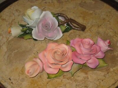 Huge Capodimonte Roses Wall Plaque And Table Piece
