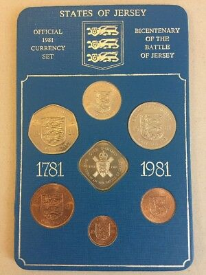 Jersey Bicentenary, The Battle Of Jersey 1781-1981 Coin Set With Square £1 Pound