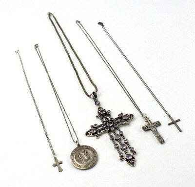 5 x STERLING SILVER Cross & St. Christopher Necklaces inc. GEORG JENSEN - 70g