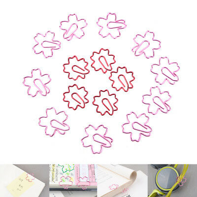 2Pcs Pink Red Sakura Cherry Blossom Flowers Paperclips Planners Paper Clips Fad.
