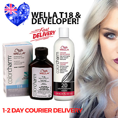 Wella T18 Colour Charm Hair Toner PLUS Developer - T18 Lightest Ash Blonde