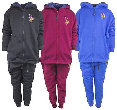 Boys Tracksuit US Polo USPA Motif Zip Hoody Jog Suit Kids Outfit 4 to 14 Years