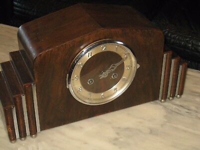 Art Deco Original Timber Mantel Clock