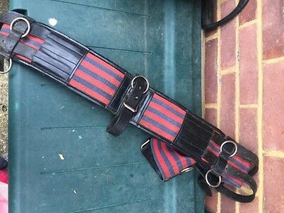 red/navy striped pony size lunge roller