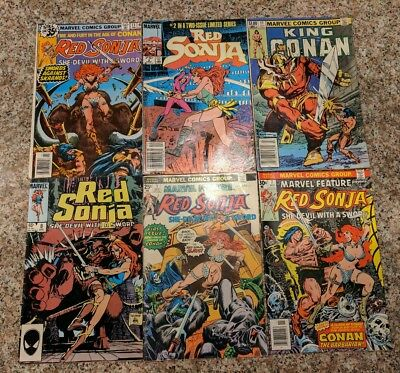 Marvel Red Sonja vintage comic lot of 5!! Features #1,2,7,8 King Conan 11