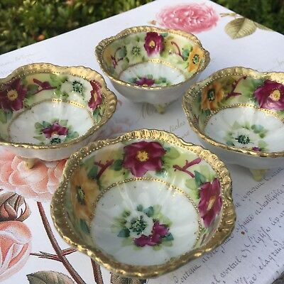 4 Stunning Little Antique Nippon Style Nut Bowls Small Dip Dishes Hand Painted