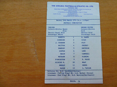 Chelsea reserve programme, Chelsea res v Oxford United res. 18th March 1974