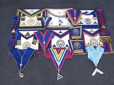 Large Collection of Vintage MASONIC Regalia inc. JEWELS MIXED DESIGNS