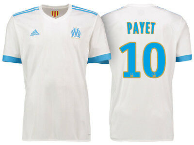 Adult M Olympique de Marseille Home Shirt 2017-18 - Payet 10 Ligue 1 Badge M14