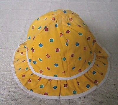 Vintage Childs Sun Hat - 1 Year Plus Approx - Yellow Frilled - Poly/Cotton - New