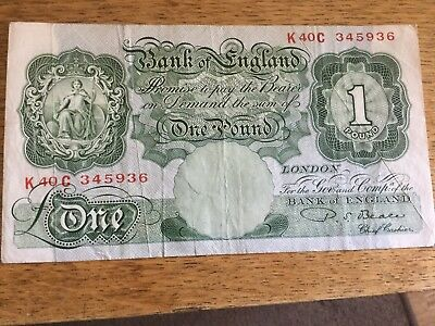Bank of England Series A 3rd Issue one pound £1 note P.S. Beale Cashier used
