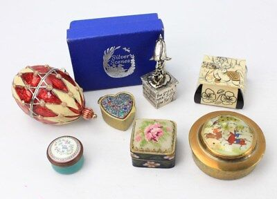 Vintage TRINKET / PILL Box Collection inc. PERSIAN Brass Mother of Pearl Painted