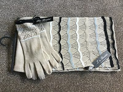 Scarf And Gloves Set, Knitted, Beige