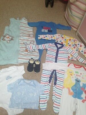 Baby Boy Bundle 6- 9 -12 Months Sleep Suits Shoes Gro Bag New Next