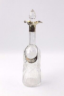 Antique Spirit Decanter with Fully Hall Marked Top and Whisky Label - Birmingham