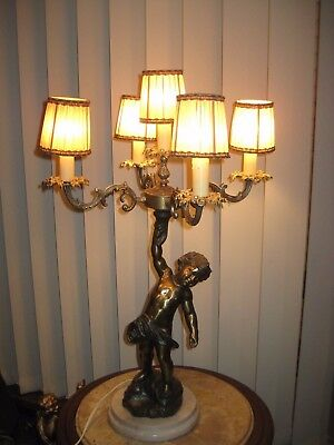 Italian Marble And Bronze 4 Arm 5 Light Chandelier Table Lamp