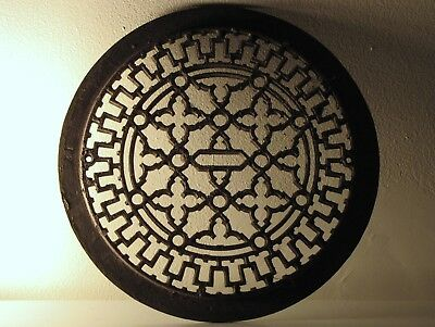 LARGE ROUND VICTORIAN Ornate Cast Iron Register Heating Floor Grate Vent RARE !!