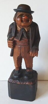 Vintage Anri Italy Wood Carving Fat Italian Man in Bowler Hat