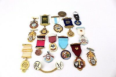 Large Collection of MASONIC&R.A.O.B Mixed Base Metal Medals MIXED Designs 323g