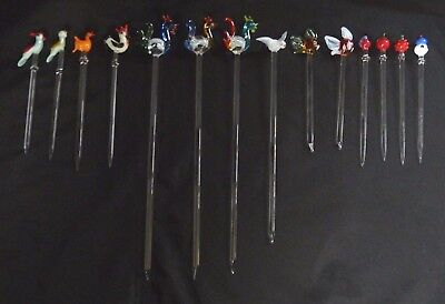 Vintage Collectible Glass Cocktail Stirrers / Swizzle Sticks